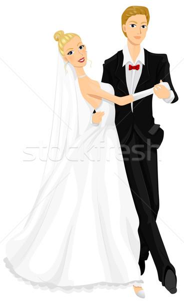 Düğün dans romantik görüntü yeni evliler dans Stok fotoğraf © lenm