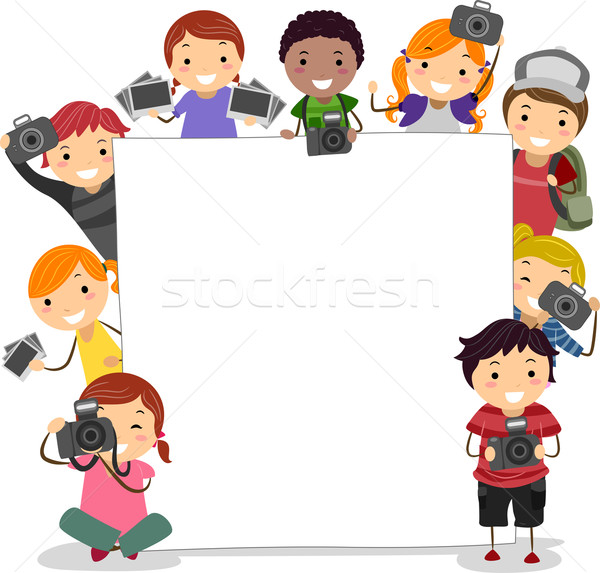 Stock foto: Kamera · Kinder · Illustration · halten · Kameras · Mädchen