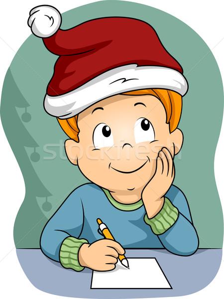 Foto d'archivio: Natale · elenco · illustrazione · piccolo · ragazzo · indossare
