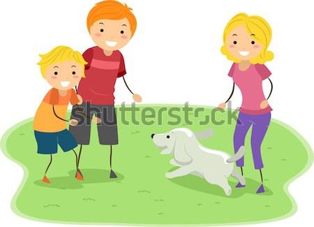 Hond illustratie vrouw schoonmaken kunst oefening Stockfoto © lenm