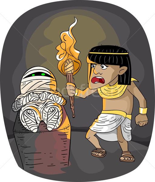 Egipcjanin ilustracja człowiek mężczyzna życia bać Zdjęcia stock © lenm