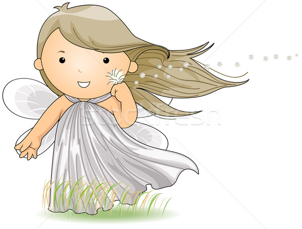 Szél tündér illusztráció élvezi szellő nő Stock fotó © lenm