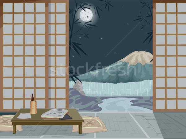 Japonés casa noche interior ilustración posada Foto stock © lenm
