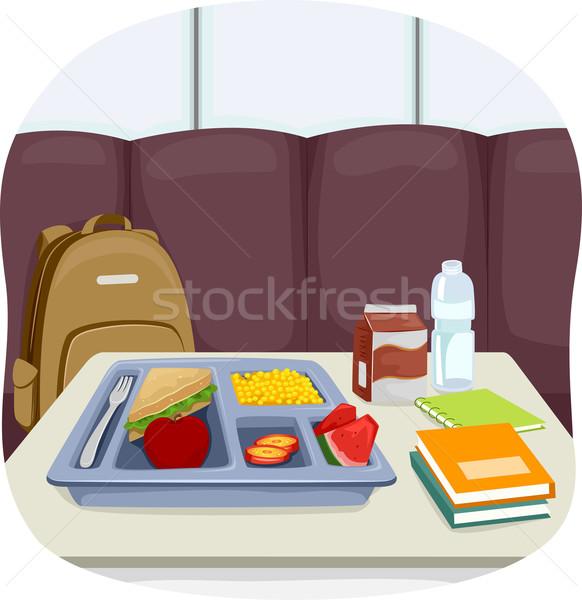 Alimentaire école cafétéria table illustration plateau Photo stock © lenm