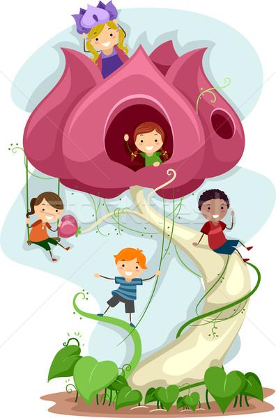 Foto stock: Gigante · flor · ilustração · crianças · brincando · criança · menino