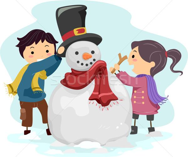 Ragazzi pupazzo di neve illustrazione bambino neve Foto d'archivio © lenm