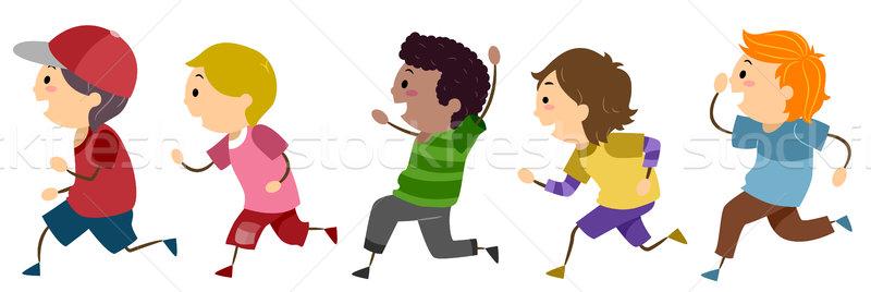 Running Boys Stock photo © lenm