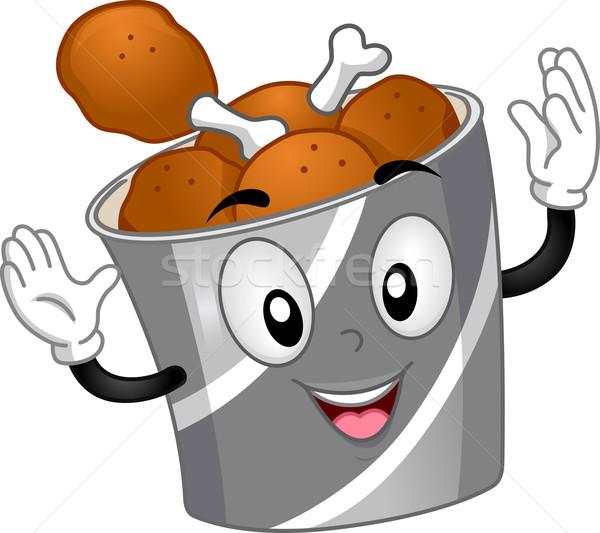 Stok fotoğraf: Tavuk · kova · maskot · örnek · karikatür · diyet