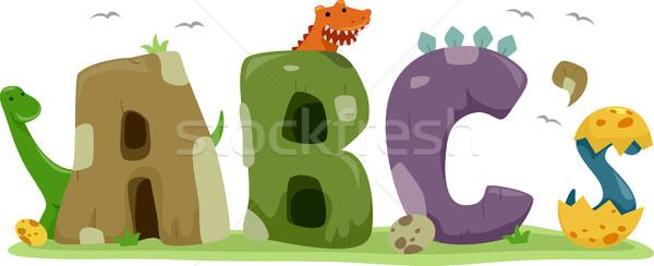 Dinosaurus tekst illustratie school dieren cartoon Stockfoto © lenm