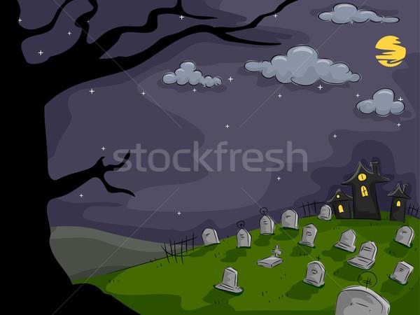 Kerkhof achtergrond halloween illustratie vol zwarte Stockfoto © lenm