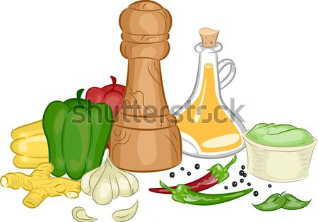 Condiments and Vegetables Background Stock photo © lenm