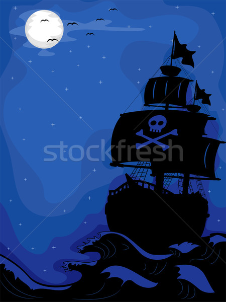 Pirate Ship at Night Stock photo © lenm