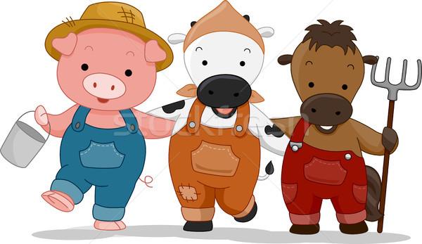 Boerderijdieren illustratie varken landbouwer huisdier emmer Stockfoto © lenm