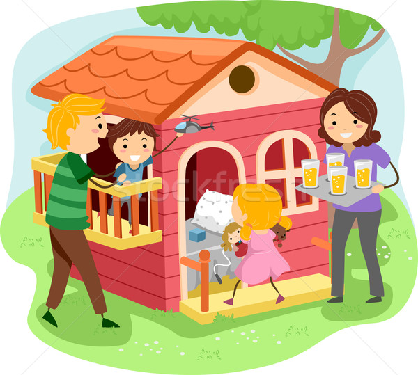 Stickman Family in a Playhouse Stock photo © lenm
