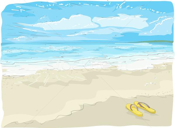 Flipflops on the Beach Sketch Stock photo © lenm