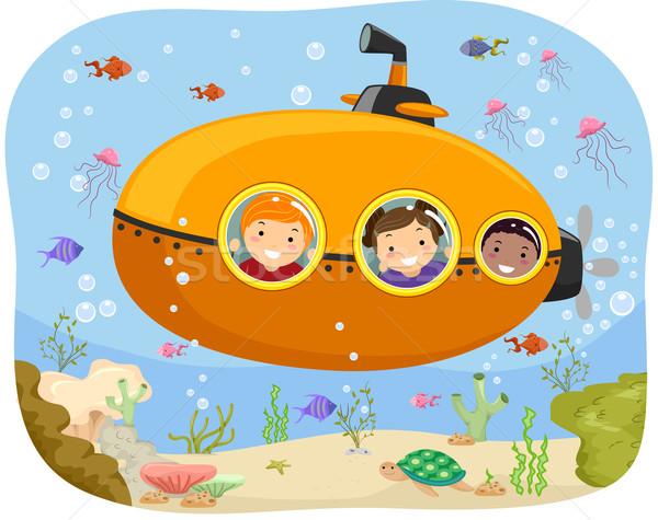 подводная лодка дети иллюстрация верховая езда мини девушки Сток-фото © lenm