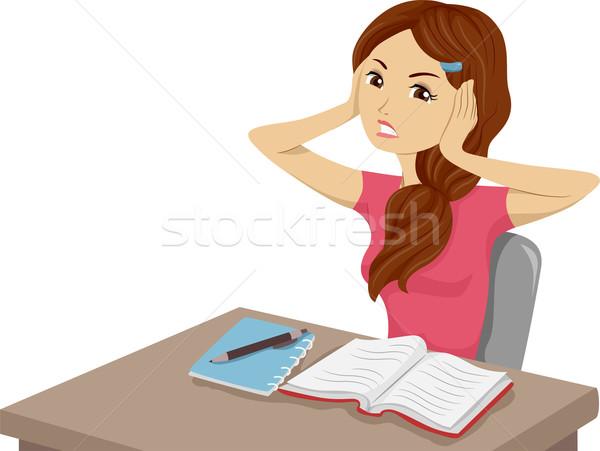 шум иллюстрация девушки изучения подростков Сток-фото © lenm