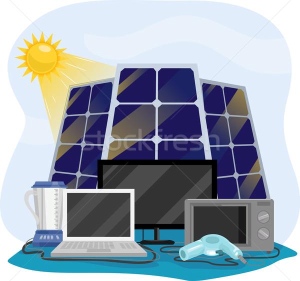 Energia solar ilustração diferente para cima painéis solares Foto stock © lenm
