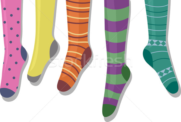 Colgante calcetines ilustración colorido percha Cartoon Foto stock © lenm