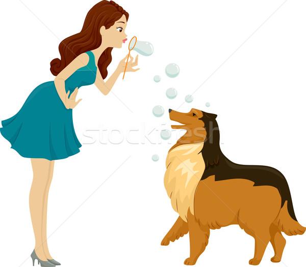 Dog Bubble Play Stock photo © lenm