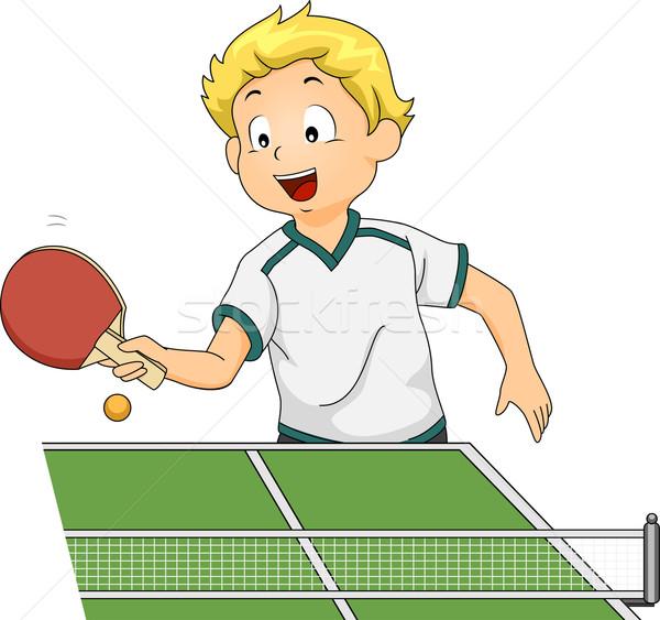 настольный теннис мальчика иллюстрация играет спорт цифровой Сток-фото © lenm