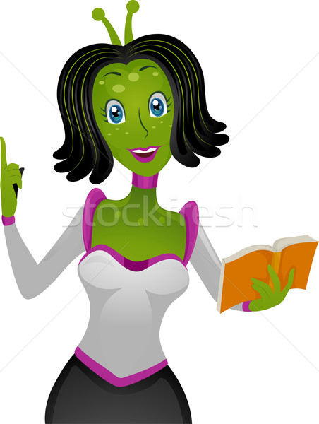 Alien Girl Teacher Book Stock photo © lenm