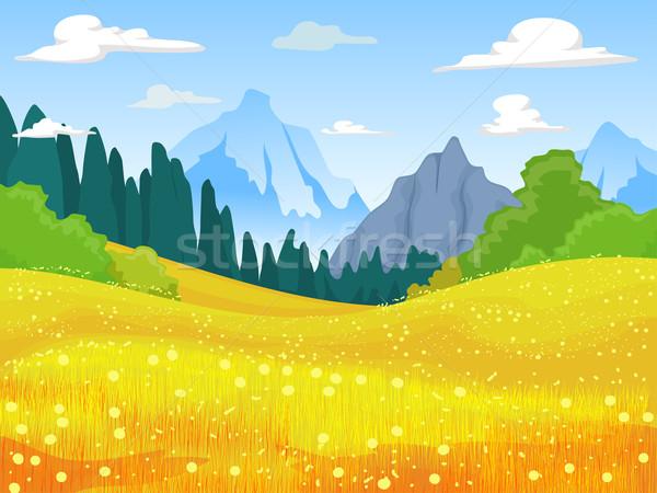Mountain Field Scene Stock photo © lenm