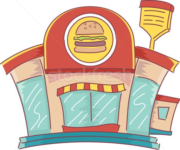 Stockfoto: Fast · food · illustratie · fastfood · restaurant · business · restaurant
