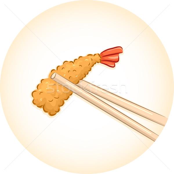 Eetstokjes illustratie paar stuk voedsel Stockfoto © lenm