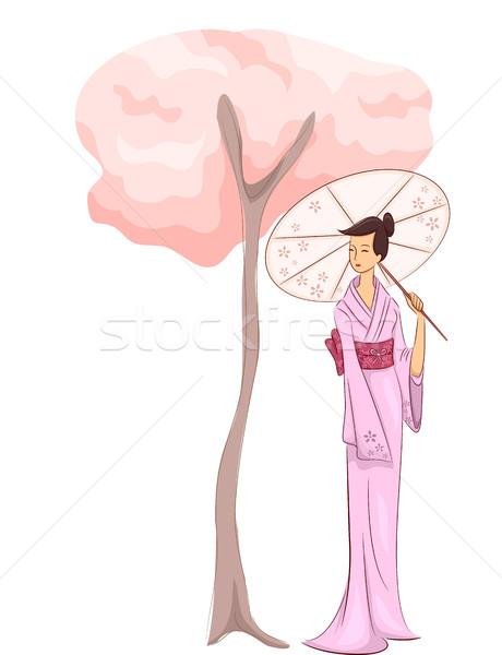 Kız kimono ağaç örnek kadın ayakta Stok fotoğraf © lenm