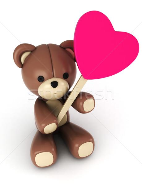 Tenha ilustração 3d recheado brinquedo coração Foto stock © lenm