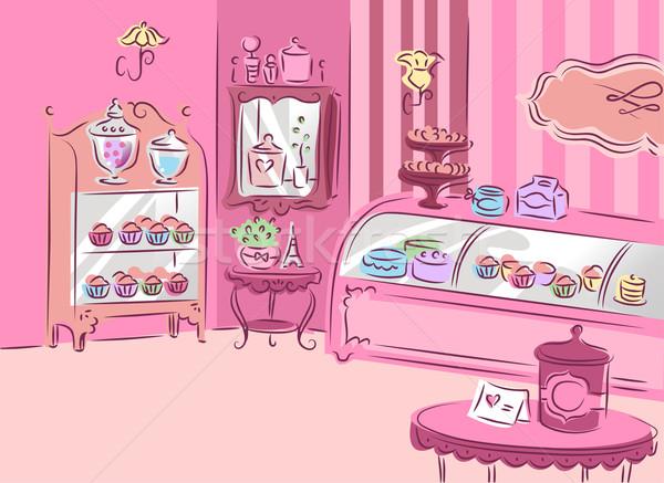 Cukrászda illusztráció aranyos fedett rózsaszín bútor Stock fotó © lenm