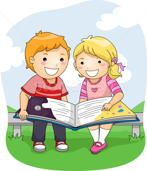 Kids Read Book Outdoor Vector Illustration C Lenm 7203067