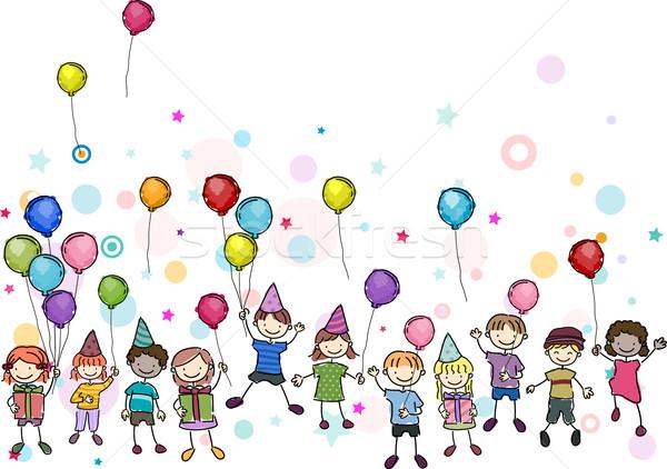 Születésnapi buli illusztráció gyerekek lány gyerekek gyermek Stock fotó © lenm