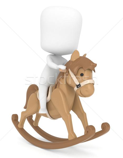 Cheval à bascule 3d illustration Kid équitation cheval cartoon Photo stock © lenm