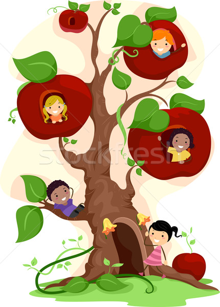 Apple Tree Kids Stock photo © lenm