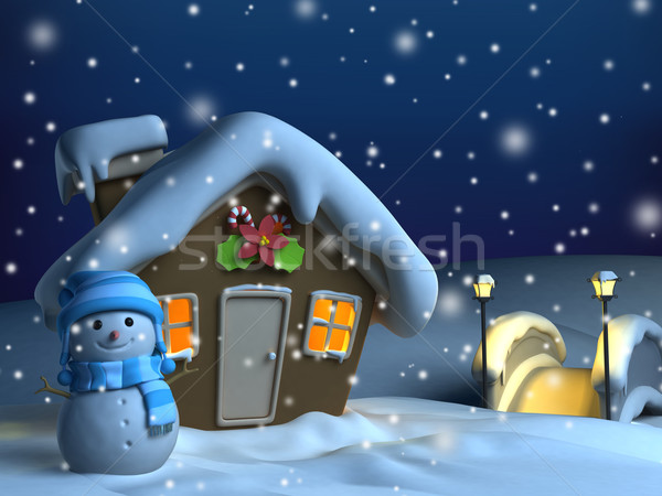 Photo stock: Noël · maison · 3d · illustration · design · neige · hiver