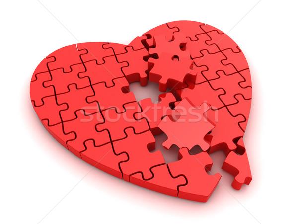 Stock fotó: összetört · szív · 3d · illusztráció · törött · kirakós · játék · szív · rajz