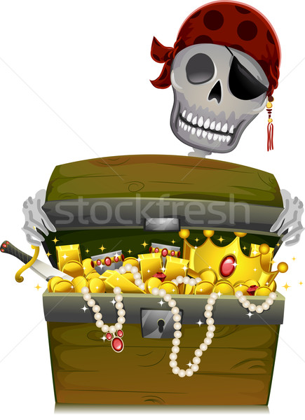 Korsan örnek iskelet açılış altın Stok fotoğraf © lenm
