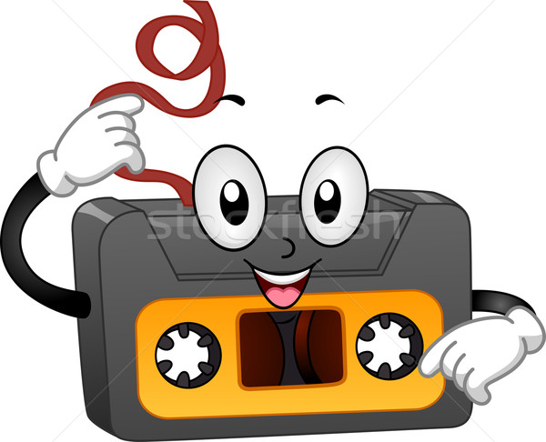 Retro Cassette Tape Mascot Stock photo © lenm