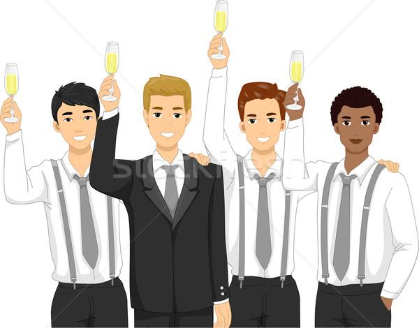 Toast Illustration Wein Champagner männlich Lifestyle Stock foto © lenm