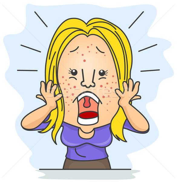 Meisje geschokt vrouw alle gezicht schoonheid Stockfoto © lenm