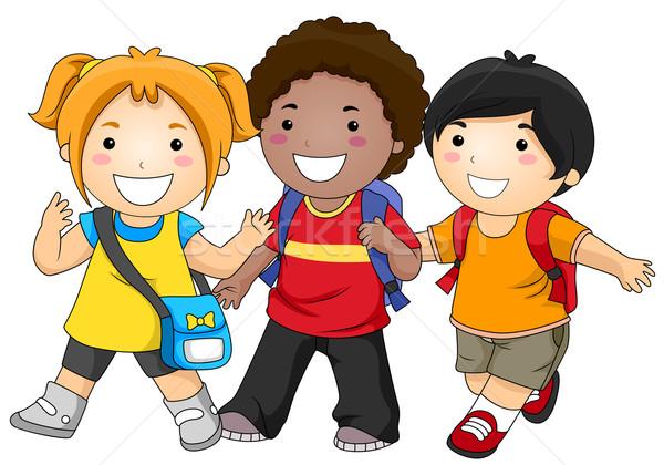 Iskola kis csoport gyerekek lány gyerekek sétál Stock fotó © lenm