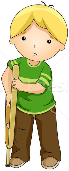 子供 松葉杖 実例 少年 無効になって クリップアート ストックフォト © lenm