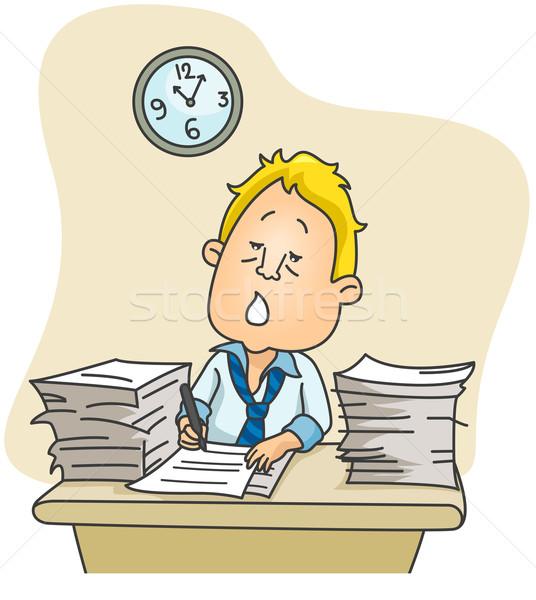 Heures supplémentaires illustration affaires supplémentaire temps bureau Photo stock © lenm