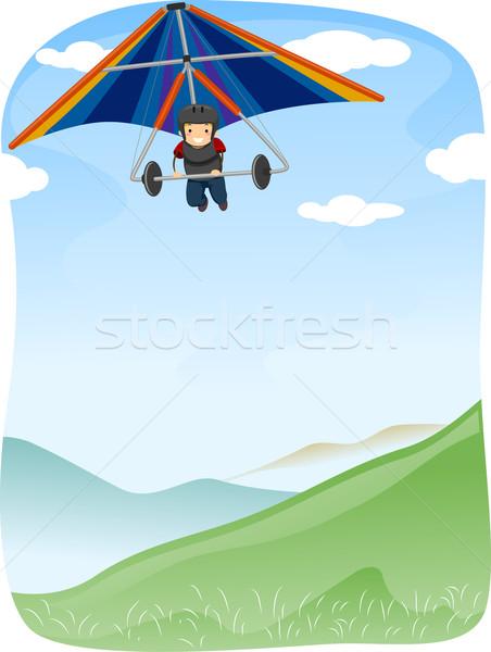 Stock photo: Stickman Hang Gliding