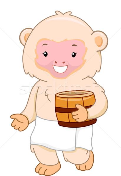 термальная ванна иллюстрация обезьяны ванны джунгли Сток-фото © lenm