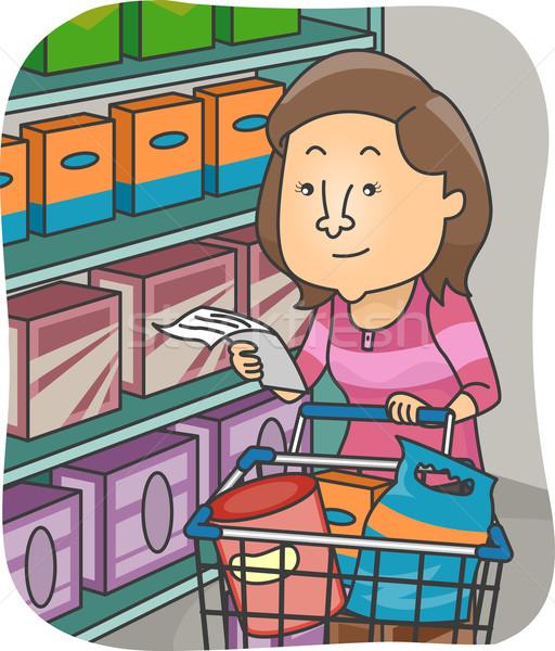 Ragazza alimentari elenco illustrazione donna shopping Foto d'archivio © lenm