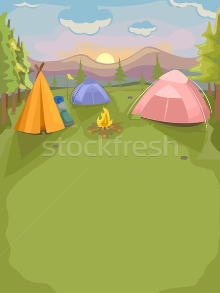 Acampamento de verão ilustração acampamento colorido verão Foto stock © lenm