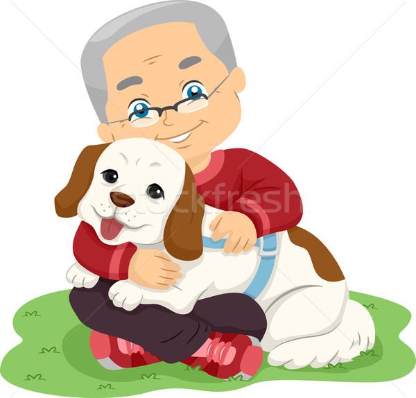 Idős férfi ölel kutya illusztráció idős személy Stock fotó © lenm